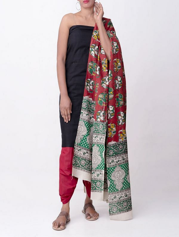 Unstitched Black-Red Rajasthani Cotton Salwar Kameez