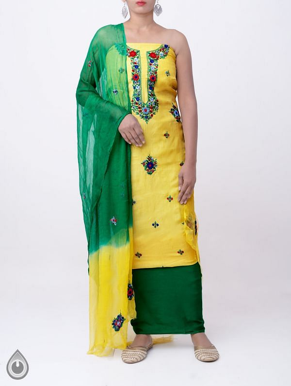 Unstitched Yellow-Green Pure Handloom Phulkari Tussar Silk Salwar Kameez-PRP7975