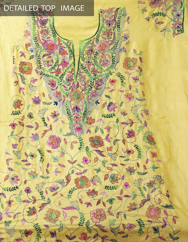 Unstitched Yellow-Green Pure Handloom Kantha Tussar Silk Salwar Kameez-PRP7979