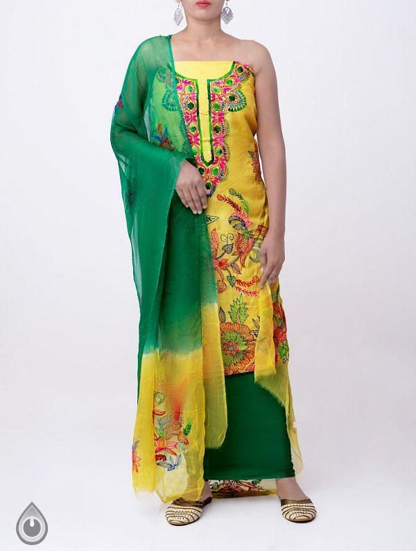 Online Shopping for Unstitched Yellow-Green Pure Handloom Kantha Tussar Silk Salwar Kameez with Kantha Work from Chattisgarh at Unnatisilks.com India