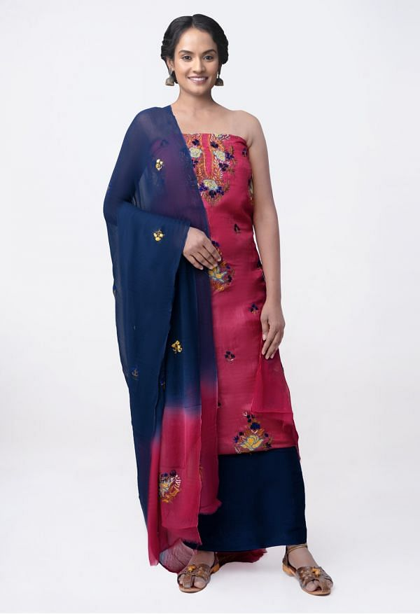 Online Shopping for Unstitched Blue-Red Pure Handloom Tussar Silk Kantha Salwar Kameez with Kantha work. from Chattisgarh at Unnatisilks.com India