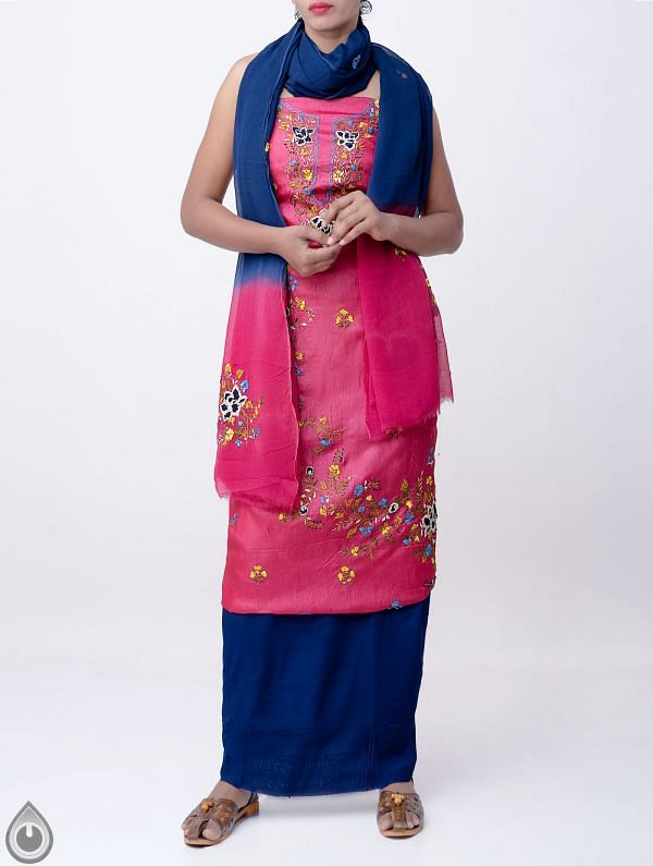 Online Shopping for Unstitched Pink-Blue Pure Handloom Phulkari Tussar Silk Salwar Kameez with Phulkari Work from Chattisgarh at Unnatisilks.com India