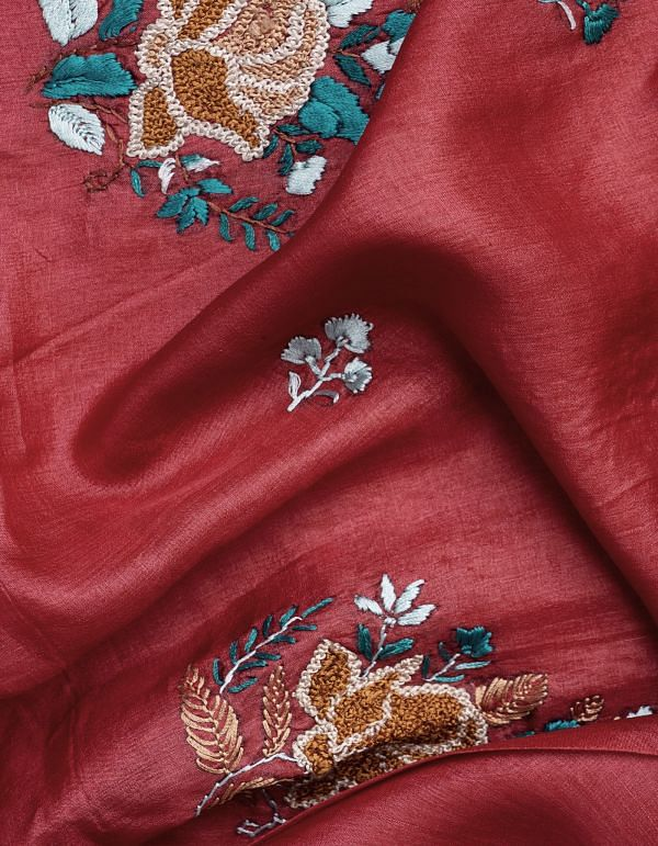 Unstitched Red-Cream Pure Handloom Phulkari Tussar Silk Salwar Kameez-PRP7990