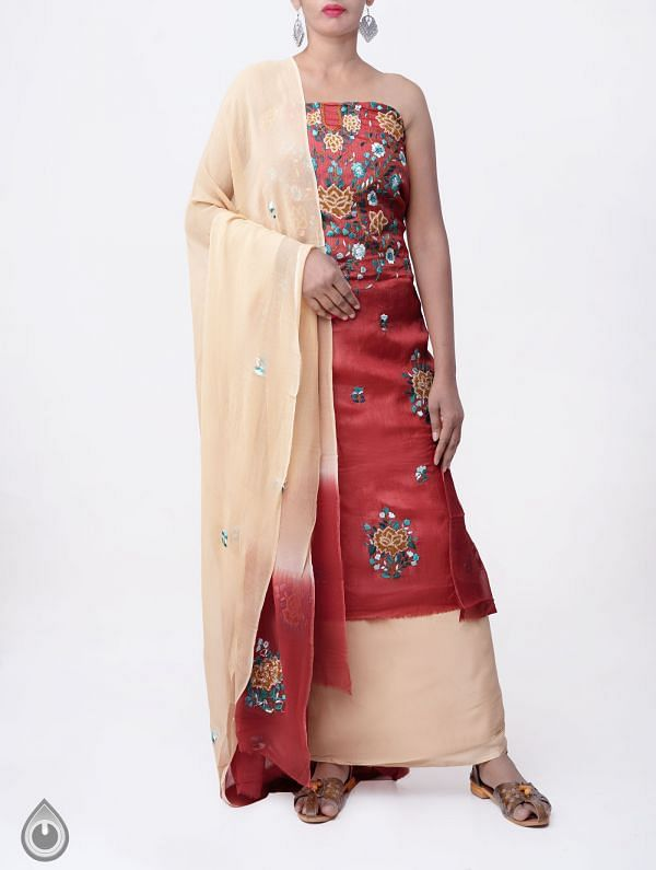 Unstitched Red-Cream Pure Handloom Phulkari Tussar Silk Salwar Kameez-PRP7992
