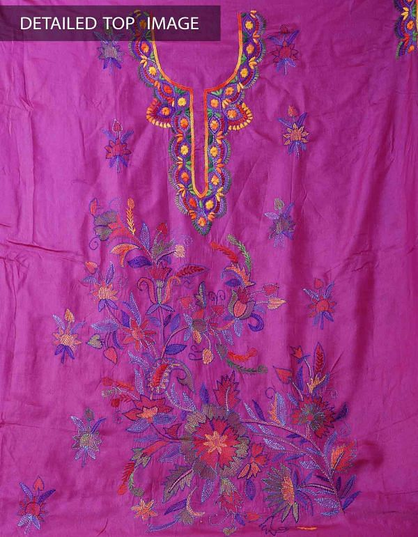 Online Shopping for Unstitched Pink-Yellow Pure Handloom Kantha Tussar Silk Salwar Kameez with Kantha Work from Chattisgarh at Unnatisilks.com India