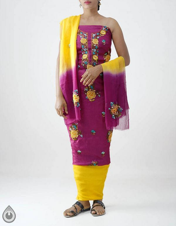 Online Shopping for Unstitched Pink-Yellow Pure Handloom Phulkari Tussar Silk Salwar Kameez with Phulkari Work from Chattisgarh at Unnatisilks.com India
