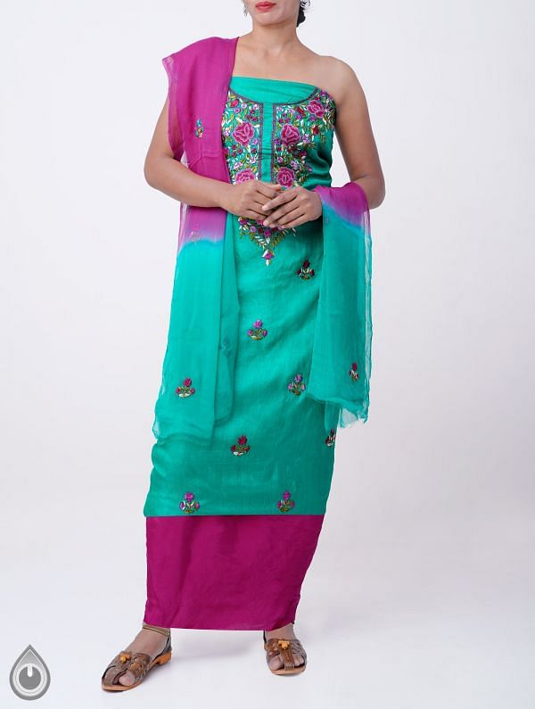 Online Shopping for Unstitched Green-Pink Pure Handloom Phulkari Tussar Silk Salwar Kameez with Phulkari Work from Chattisgarh at Unnatisilks.com India