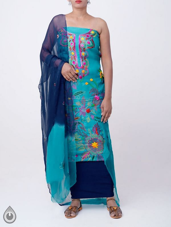 Online Shopping for Unstitched Blue Pure Handloom Kantha Tussar Silk Salwar Kameez with Kantha Work from Chattisgarh at Unnatisilks.com India