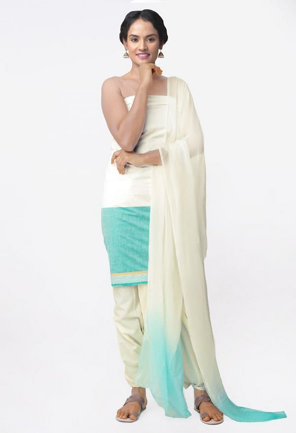 Online Shopping for Unstitched Off White Pure Andhra Cotton Salwar Kameez with Weaving from Andhra Pradesh at Unnatisilks.com India