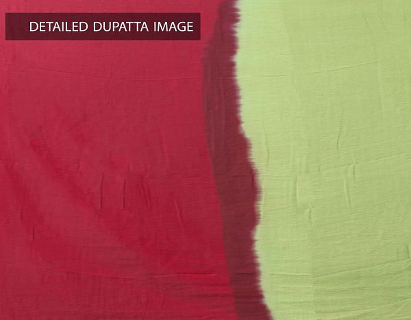 Online Shopping for Stitched Green-Red Jaipuri Cotton Salwar Kameez with Prints from Rajasthan at Unnatisilks.comIndia