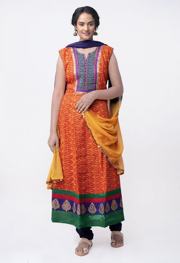 Online Shopping for Stitched Yellow-Blue Jaipuri Cotton Salwar Kameez with Prints from Rajasthan at Unnatisilks.comIndia