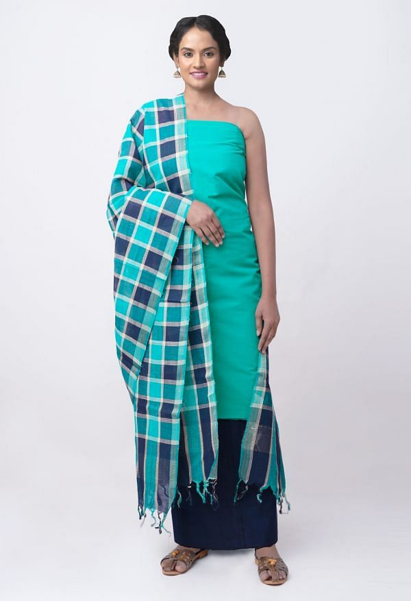 Online Shopping for Unstitched Green-Blue Pure Mangalagiri Cotton Salwar Kameez with Weaving from Andhra Pradesh at Unnatisilks.comIndia