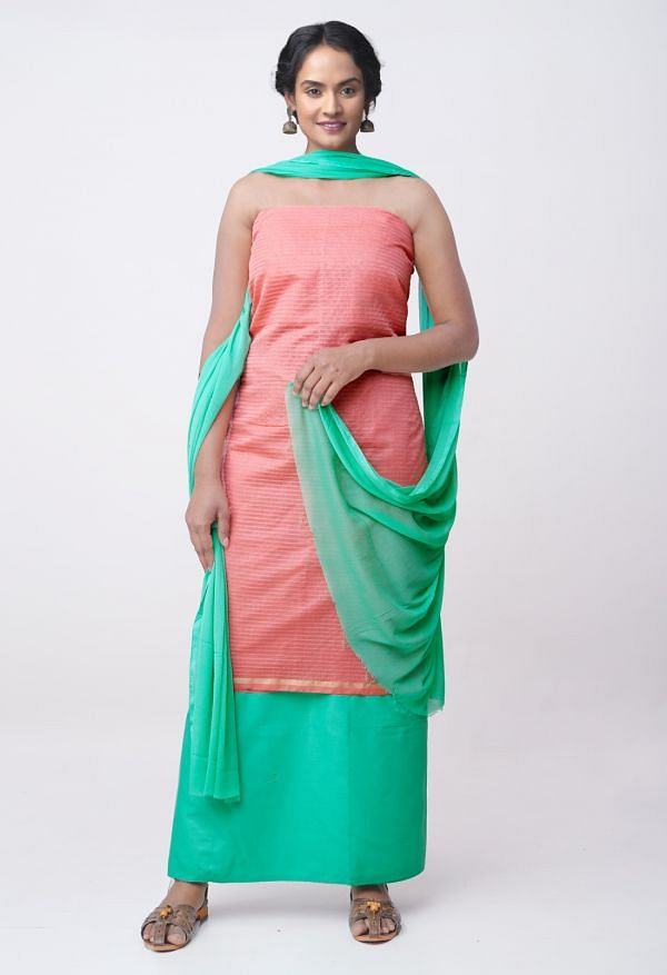 Online Shopping for Unstitched Pink-Green Pure Chanderi Sico Salwar Kameez with Weaving from Madhya Pradesh at Unnatisilks.comIndia