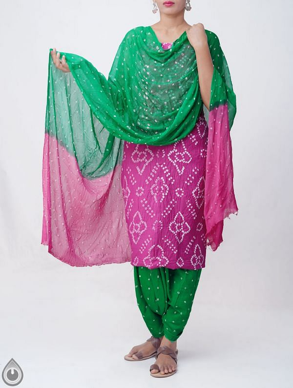 Online Shopping for Unstitched Pink-Green Pure Bandhani Cotton Salwar Kameez with Tie-Dye Bandhani from Rajasthan at Unnatisilks.comIndia