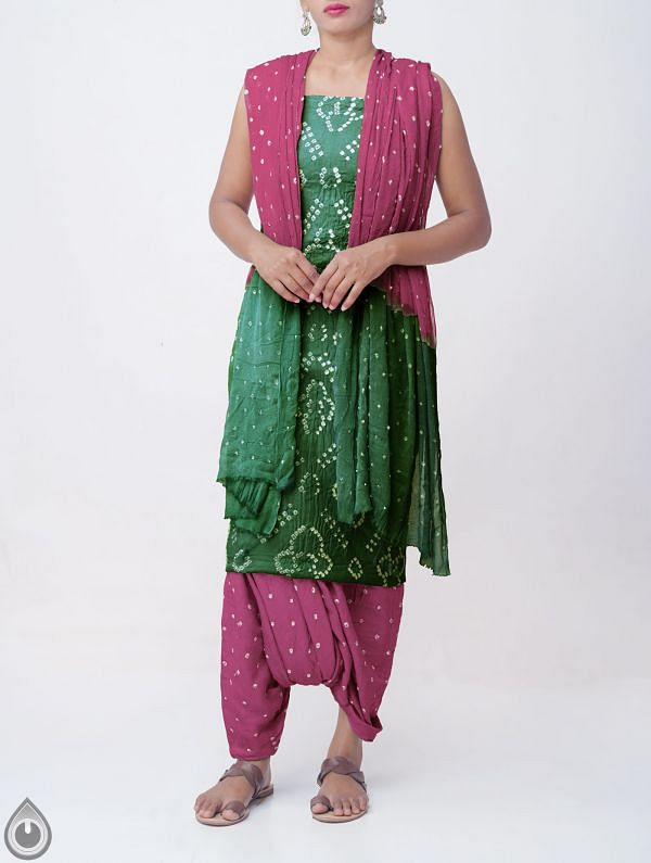 Online Shopping for Unstitched Green-Purple Pure Bandhani Cotton Salwar Kameez with Tie-Dye Bandhani from Rajasthan at Unnatisilks.comIndia