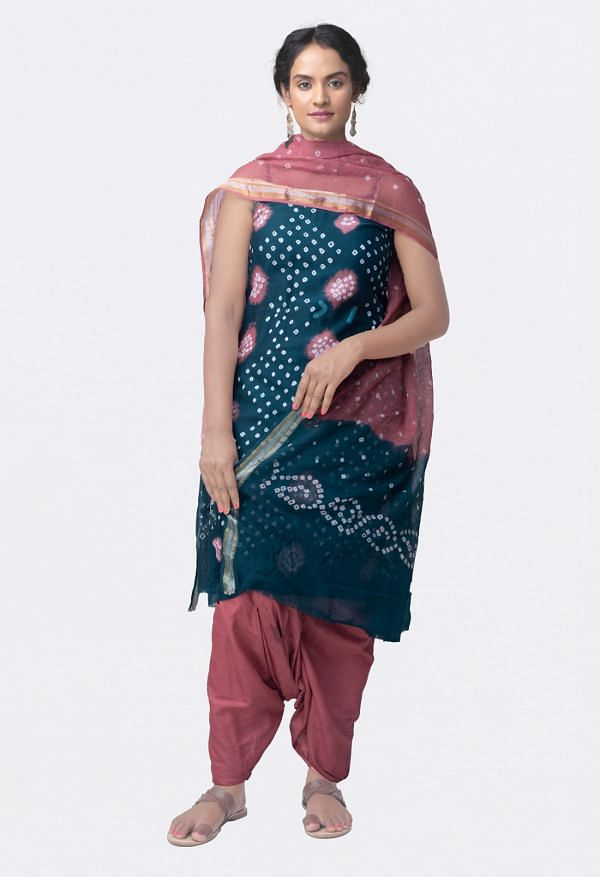 Online Shopping for Unstitched Green-Pink Pure Bandhani Cotton Salwar Kameez with Tie and Dye Bandhani from Rajasthan at Unnatisilks.comIndia