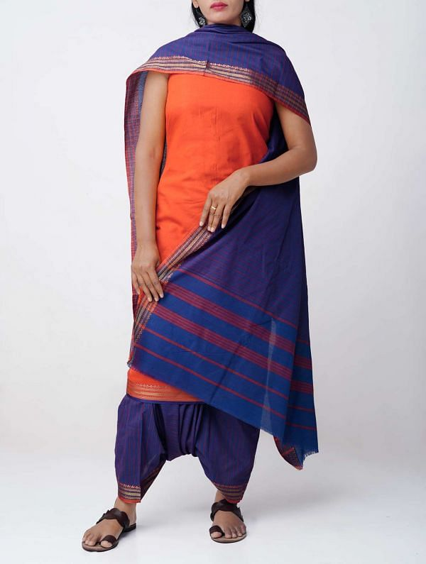 Online Shopping for Unstitched Orange-Blue Pure Chettinad Cotton Salwar Kameez with weaves from Tamilnadu at Unnatisilks.comIndia