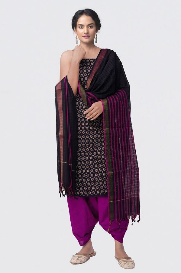 Online Shopping for Unstitched Black-Purple Pure Rajasthani Cotton Salwar Kameez with Hand Block Pints from Rajasthan at Unnatisilks.comIndia