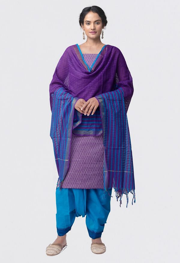 Online Shopping for Unstitched Violet-Blue Pure Rajasthani Cotton Salwar Kameez with weaves from Rajasthan at Unnatisilks.comIndia