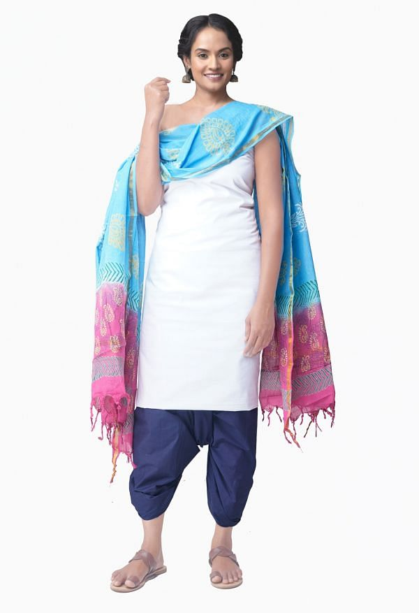 Online Shopping for Unstitched White-Navy Blue Pure Kanchi Cotton Salwar Kameez with  Weaving from Tamilnadu at Unnatisilks.comIndia