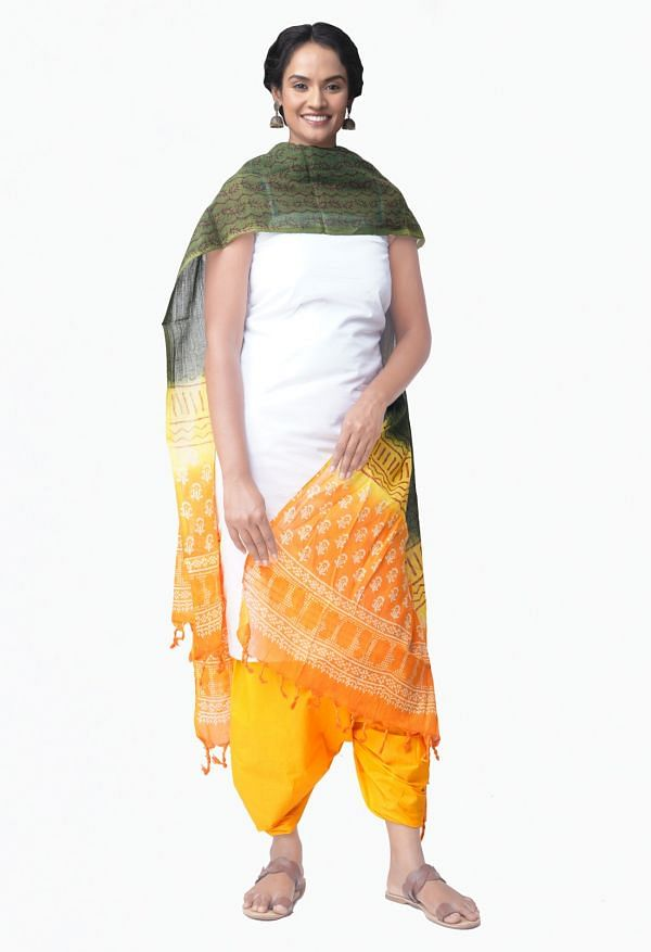 Online Shopping for Unstitched White-Yellow Pure Kanchi Cotton Salwar Kameez with  Weaving from Tamilnadu at Unnatisilks.comIndia