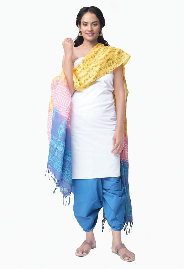 Online Shopping for Unstitched White-Blue Pure Kanchi Cotton Salwar Kameez with  Weaving from Tamilnadu at Unnatisilks.comIndia
