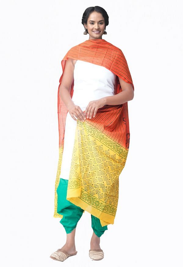 Online Shopping for Unstitched White-Green Pure Kanchi Cotton Salwar Kameez with  Weaving from Tamilnadu at Unnatisilks.comIndia