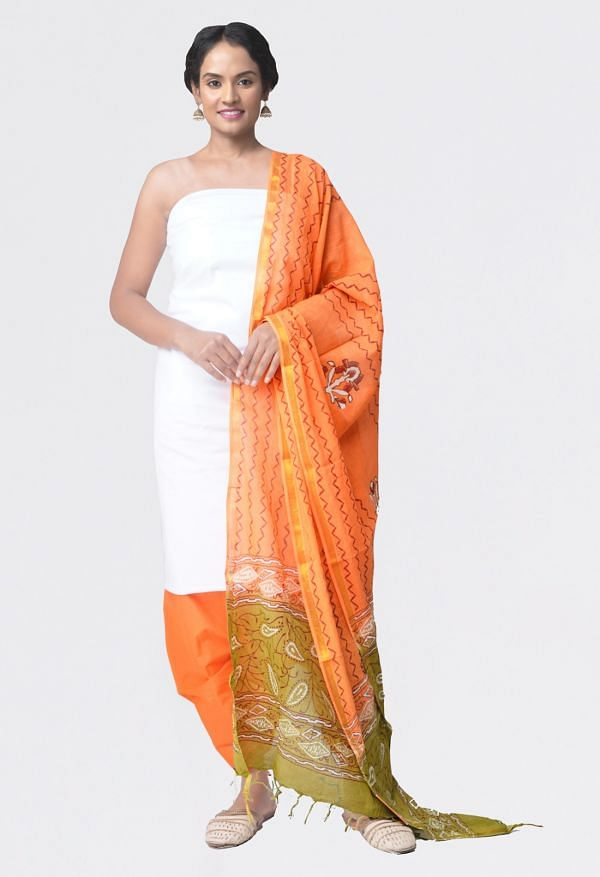 Online Shopping for Unstitched White-Orange Pure Kanchi Cotton Salwar Kameez with  Weaving from Tamilnadu at Unnatisilks.comIndia