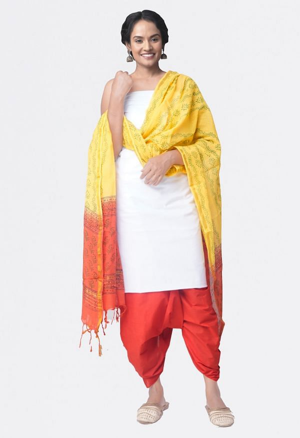 Online Shopping for Unstitched White-Red Pure Kanchi Cotton Salwar Kameez with  Weaving from Tamilnadu at Unnatisilks.comIndia