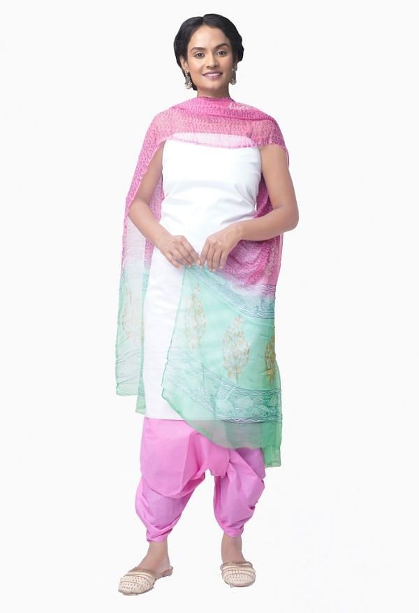 Online Shopping for Unstitched White-PinkPure Chettinad Cotton Salwar Kameez with Weaving from Tamil nadu at Unnatisilks.comIndia