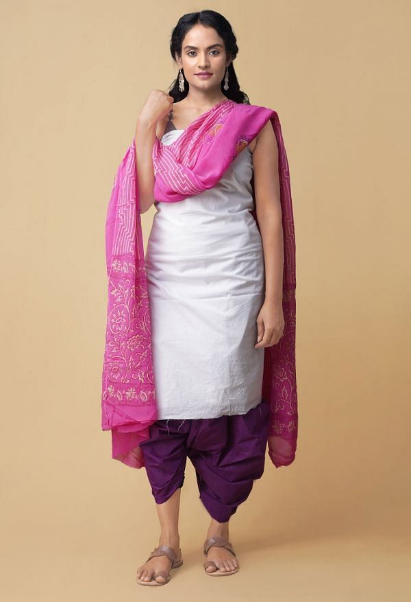 Online Shopping for Unstitched White-Violet Pure Kanchi Cotton Salwar Kameez with Weaving from Tamilnadu at Unnatisilks.comIndia