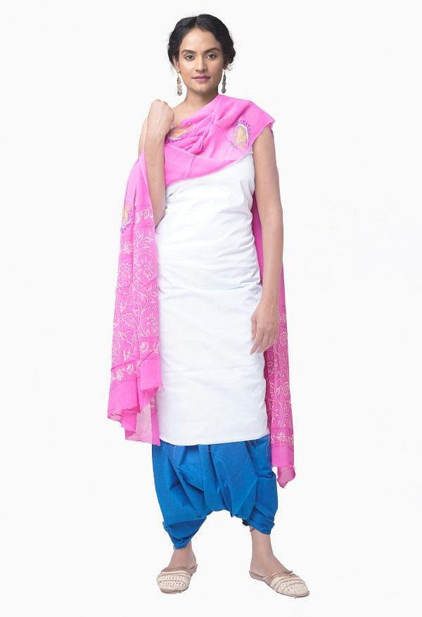 Online Shopping for Unstitched White-BluePure Chettinad Cotton Salwar Kameez with Weaving from Tamil nadu at Unnatisilks.comIndia