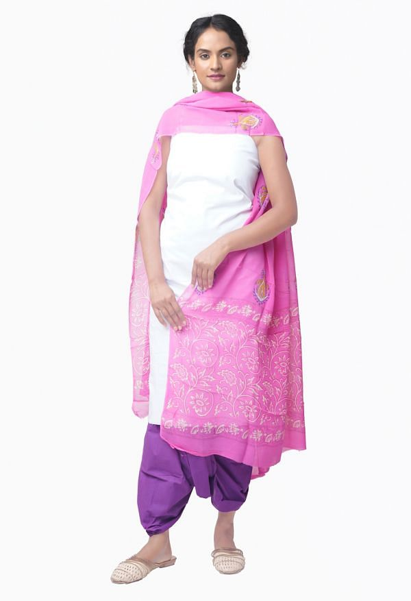 Online Shopping for Unstitched White-VioletPure Chettinad Cotton Salwar Kameez with Weaving from Tamil nadu at Unnatisilks.comIndia