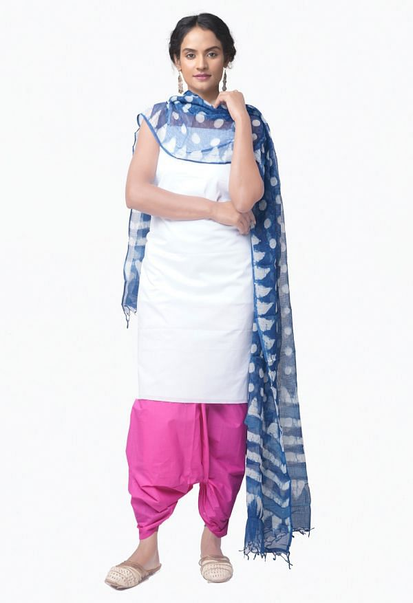 Online Shopping for Unstitched White-Pink Pure Chettinad Cotton Salwar Kameez with Weaving from Tamil nadu at Unnatisilks.comIndia