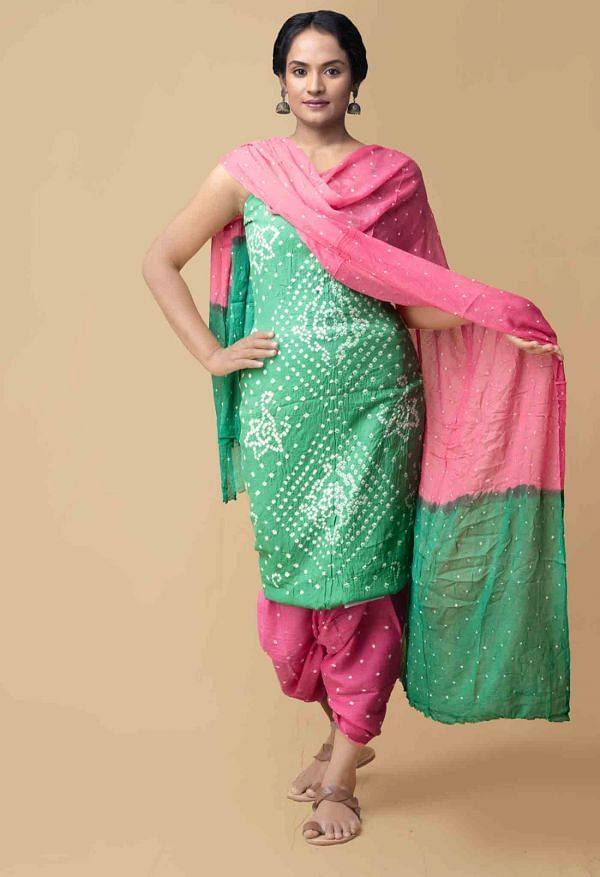 Online Shopping for Unstitched Green-Pink  Bandhani Cotton Salwar Kameez with Tie-N-Dye from Rajasthan at Unnatisilks.comIndia