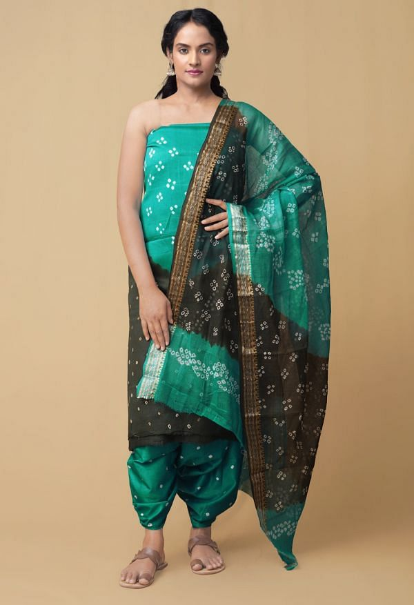 Online Shopping for Unstitched Green  Bandhani Cotton Salwar Kameez with Tie-N-Dye from Rajasthan at Unnatisilks.comIndia
