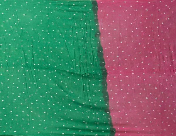Online Shopping for Unstitched Pink-Green  Bandhani Cotton Salwar Kameez with Tie-N-Dye from Rajasthan at Unnatisilks.comIndia
