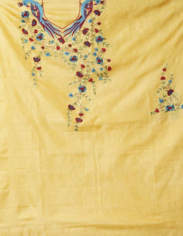 Unstitched Yellow-Blue Pure Handloom Phulkari Tussar Silk Salwar Kameez