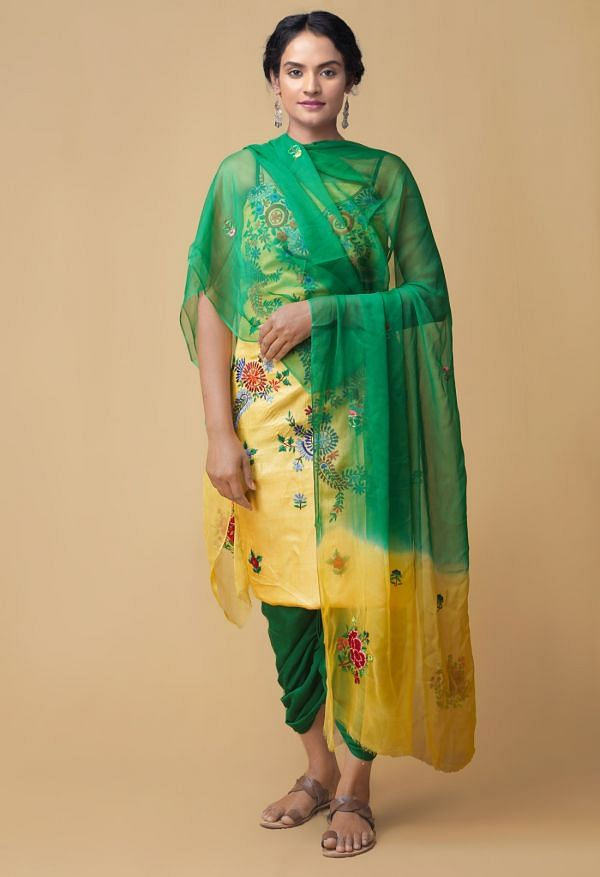 Unstitched Yellow-Green Pure Handloom Phulkari Tussar Silk Salwar Kameez