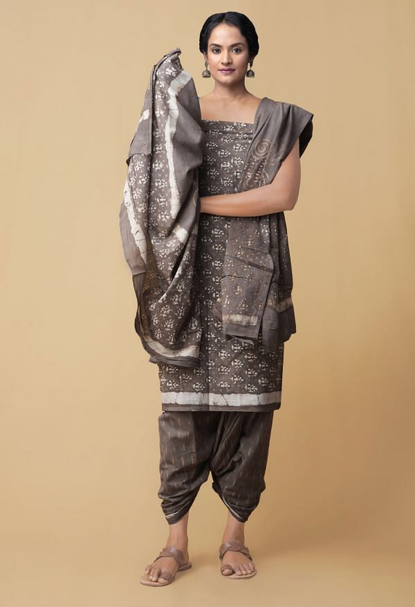 Unstitched Grey Pure Dabu Cotton Salwar Kameez