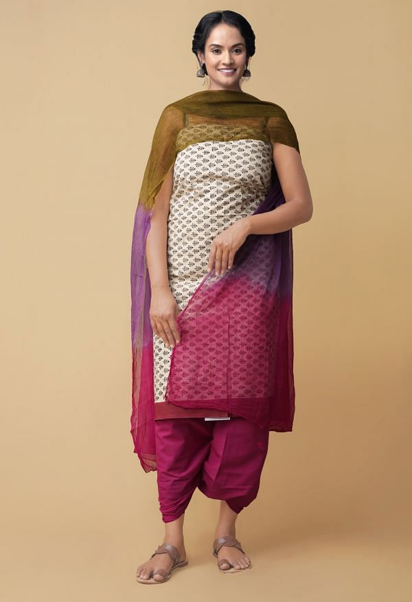 Online Shopping for Unstitched Cream-Pink Pure Rajasthani Cotton Salwar Kameez with Hand Block Prints from Rajasthan at Unnatisilks.comIndia