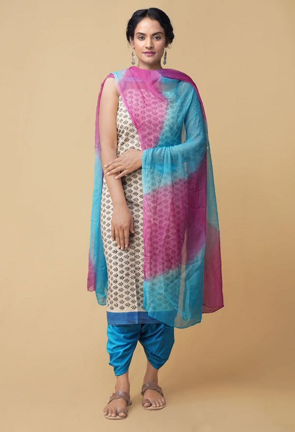 Online Shopping for Unstitched Cream-Blue Pure Rajasthani Cotton Salwar Kameez with Hand Block Prints from Rajasthan at Unnatisilks.comIndia