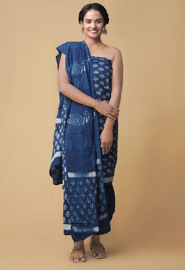 Unstitched Indigo Blue Pure Dabu Cotton Salwar Kameez
