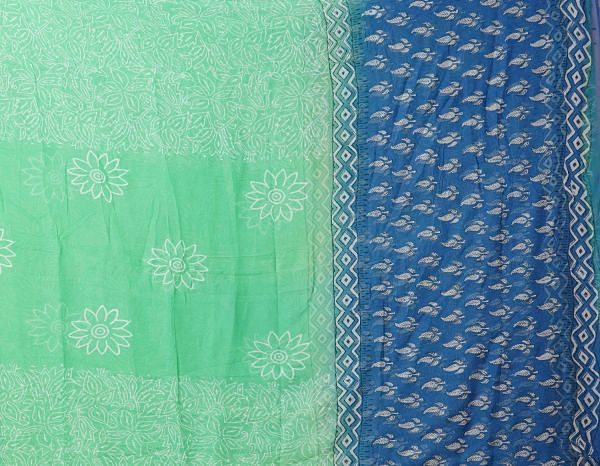 Online Shopping for Unstitched Blue-Green Pure Rajasthani Cotton Salwar Kameez with Hand Block Prints from Rajasthan at Unnatisilks.comIndia