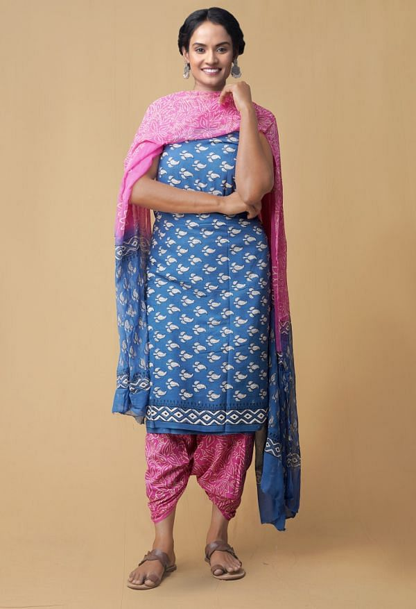 Unstitched Blue-Pink Pure Rajasthani Cotton Salwar Kameez