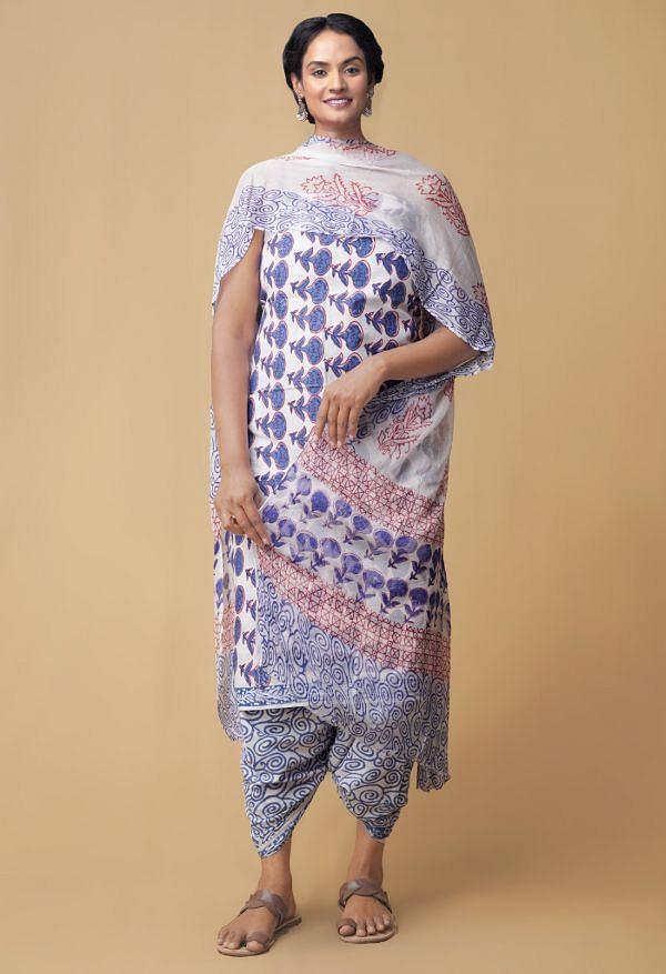 Online Shopping for Unstitched White Pure Rajasthani Cotton Salwar Kameez with Hand Block Prints from Rajasthan at Unnatisilks.comIndia