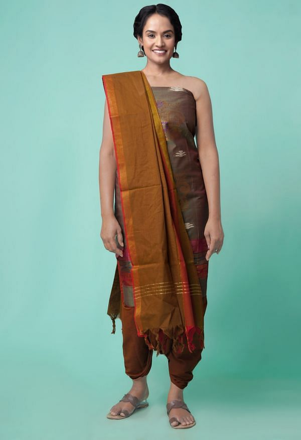 Online Shopping for Unstitched Mehandi Green-Brown Pure Handloom Kanchi Cotton Salwar Kameez with Hand Block Prints from Rajasthan at Unnatisilks.comIndia