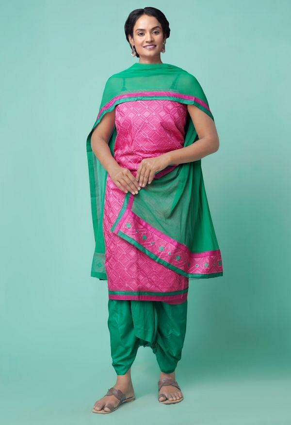 Online Shopping for Unstitched Pink-Green Pure Rajasthani Cotton Salwar Kameez with Hand Block Prints from Rajasthan at Unnatisilks.comIndia