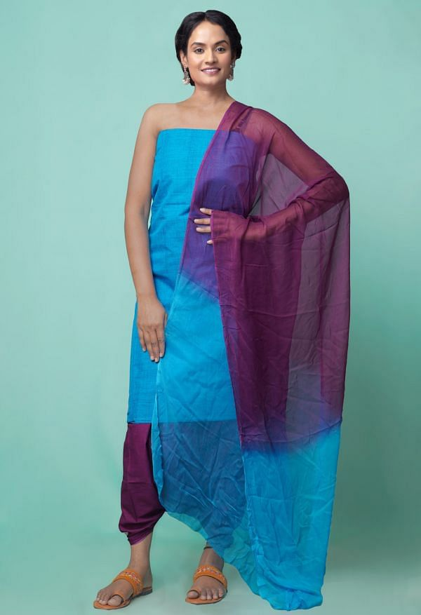 Online Shopping for Unstitched Blue-Purple Pure Mangalagiri Cotton Salwar Kameez with Weaving from Andhra Pradesh at Unnatisilks.comIndia