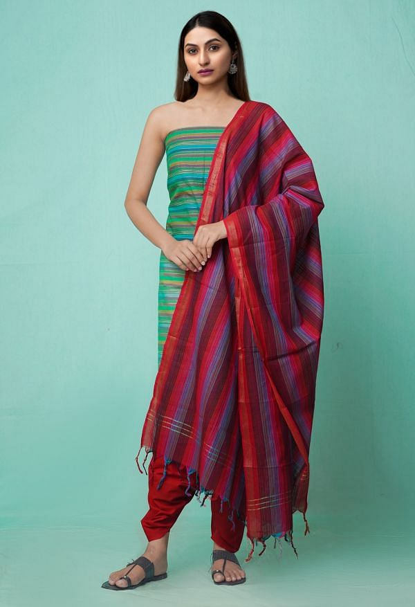 Online Shopping for Unstitched Green-Red Pure Mangalagiri Cotton Salwar Kameez with Weaving from Andhra Pradesh at Unnatisilks.comIndia
